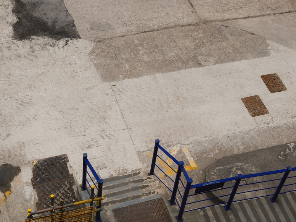 top-view photo of blue railings
