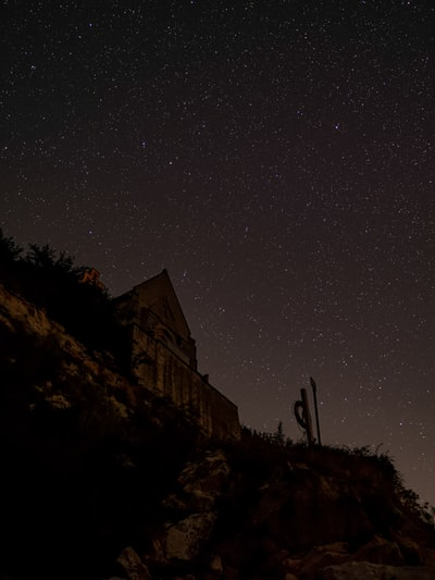 low-angle photography of house under stars