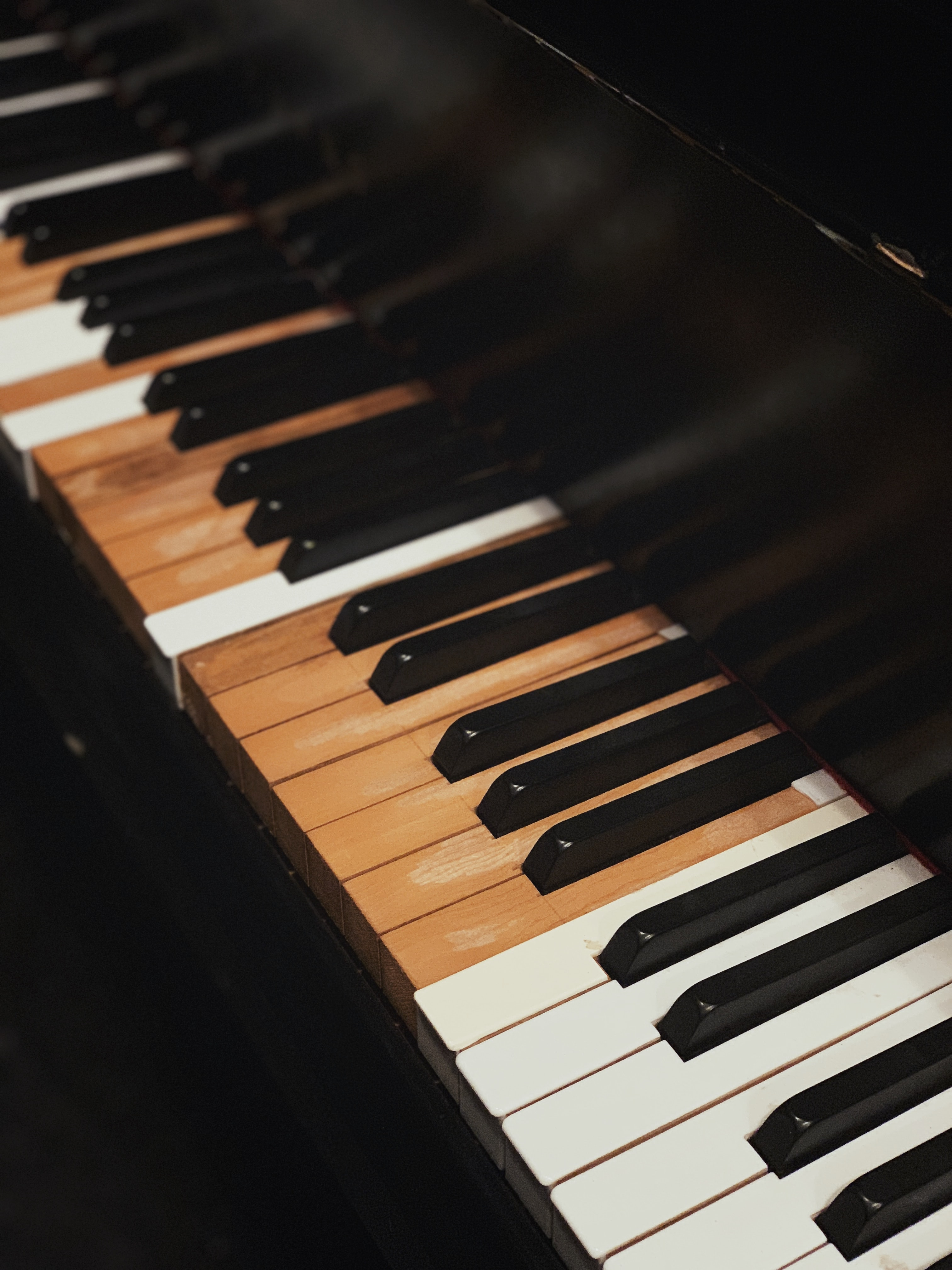 close up photography of black piano