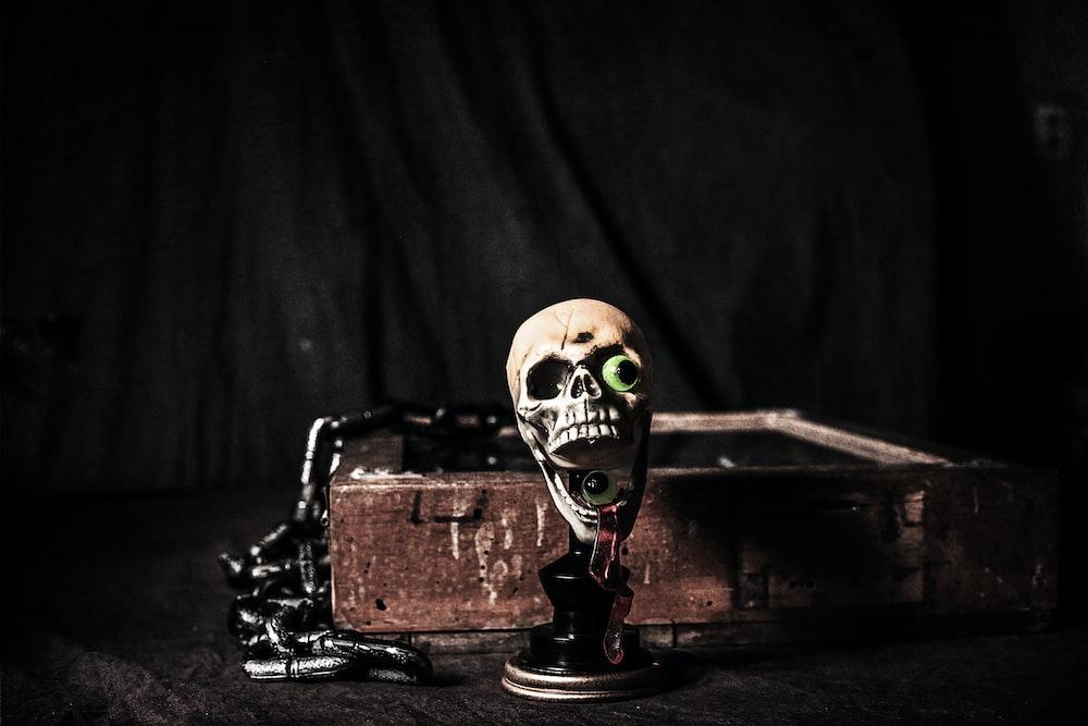 brown skull figurine