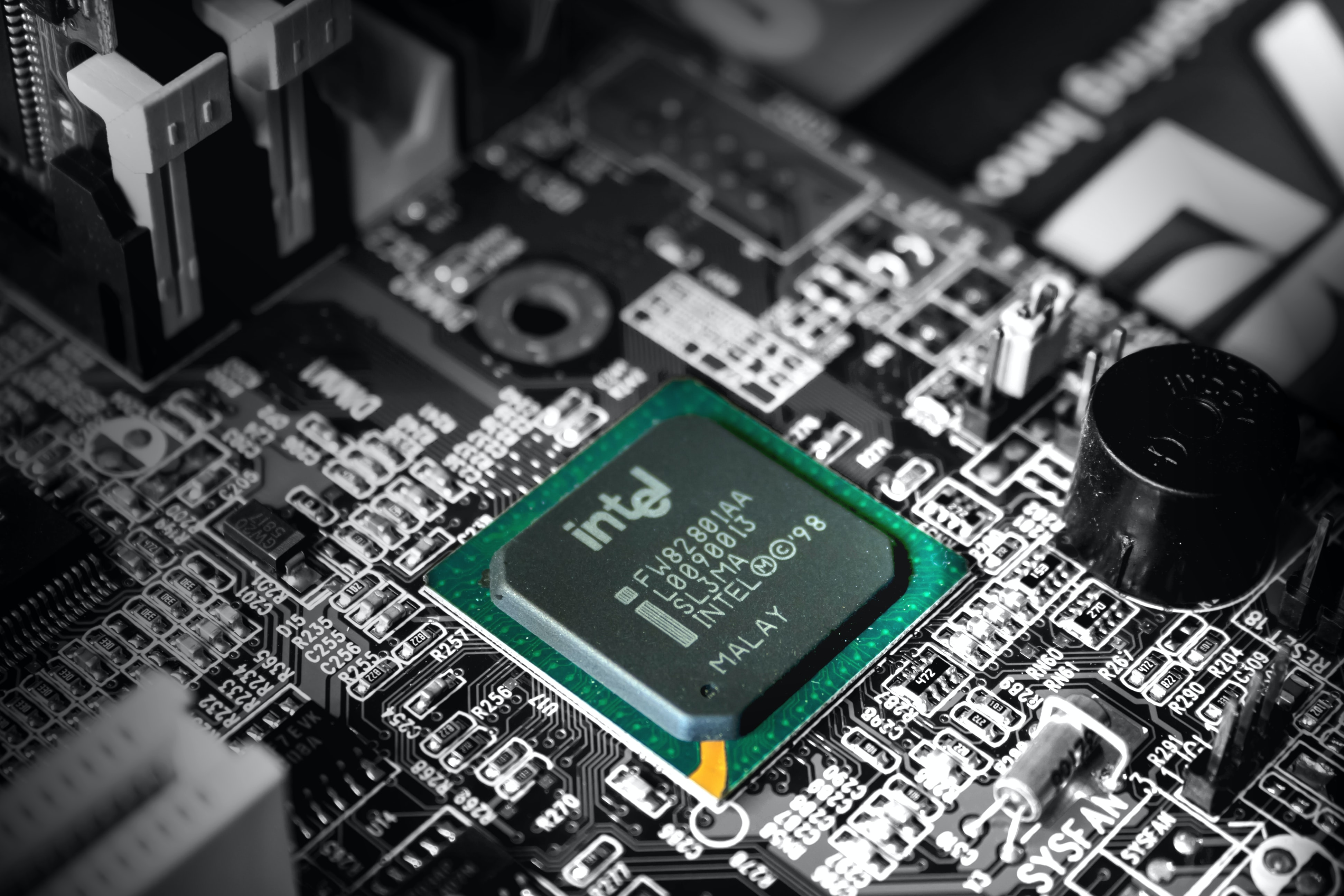 Intel computer processor in selective color photography