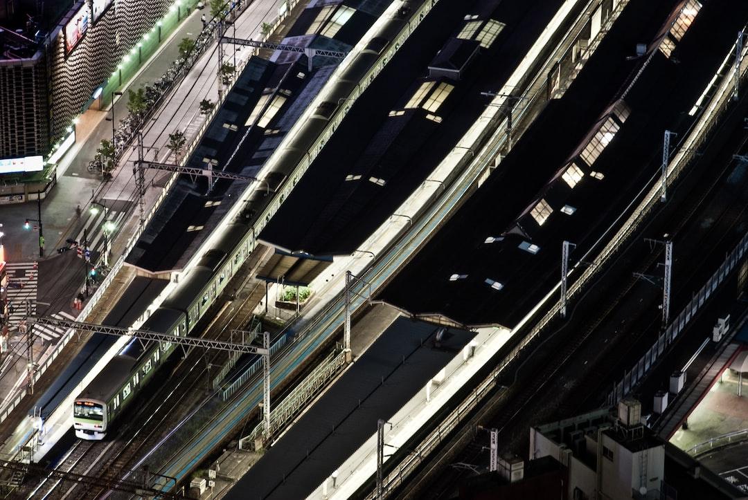 Long exposure of Shimbashi train station, Tokyo