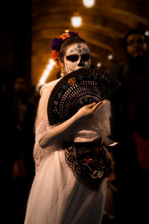 woman with Santa Muerte face makeup