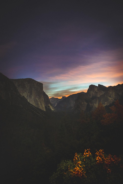 tall mountain in night sky