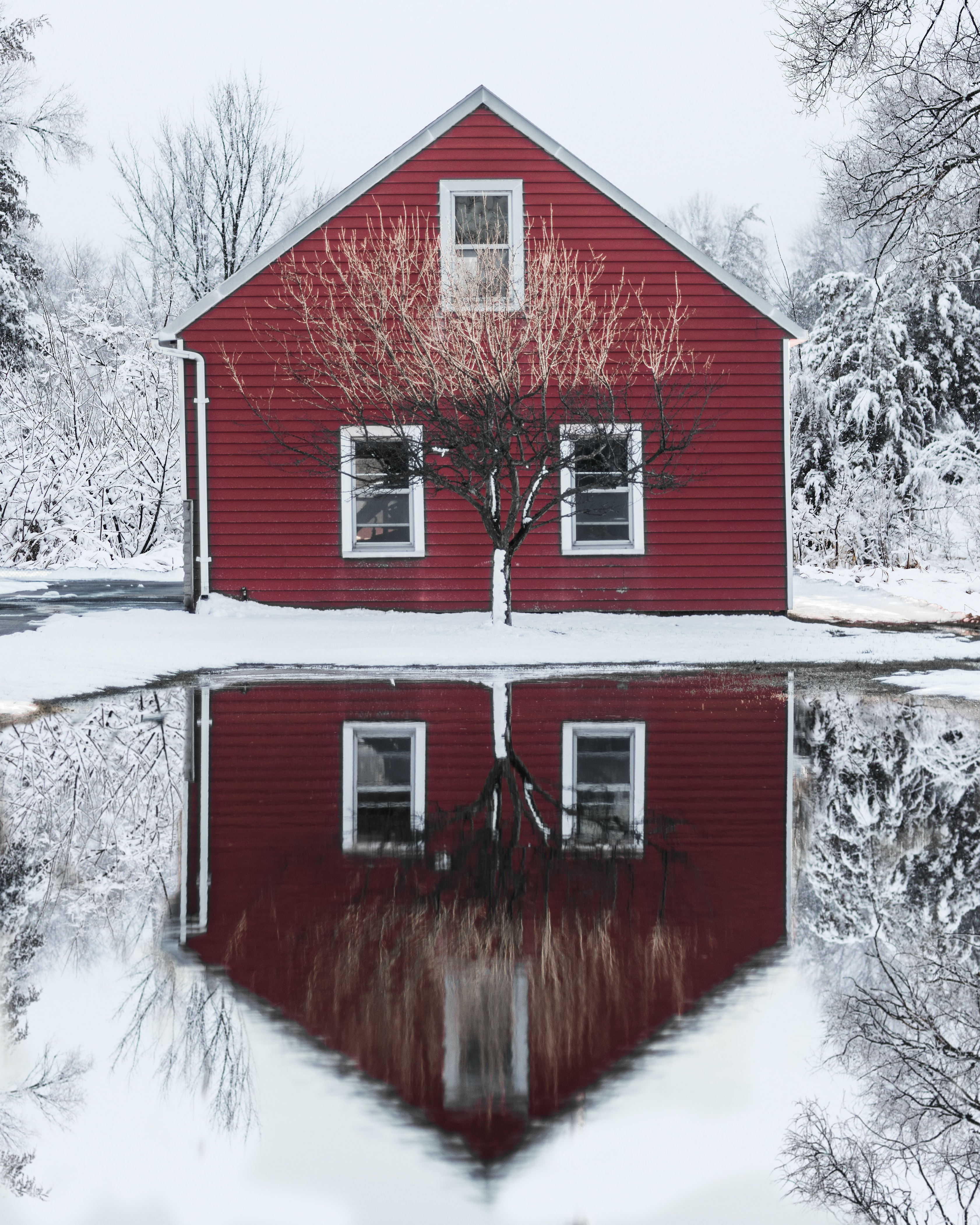red and white wooden house