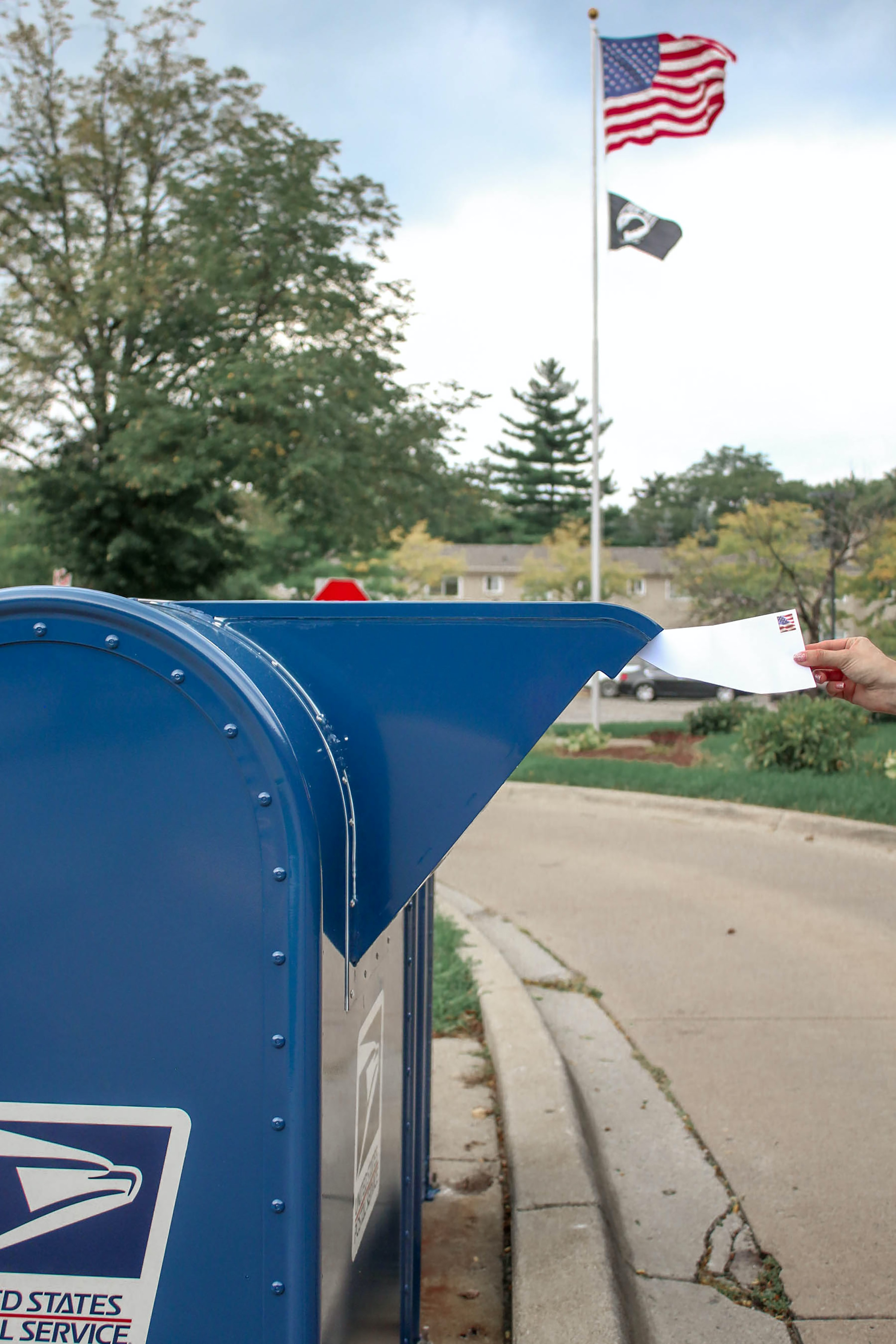 blue and white mail box