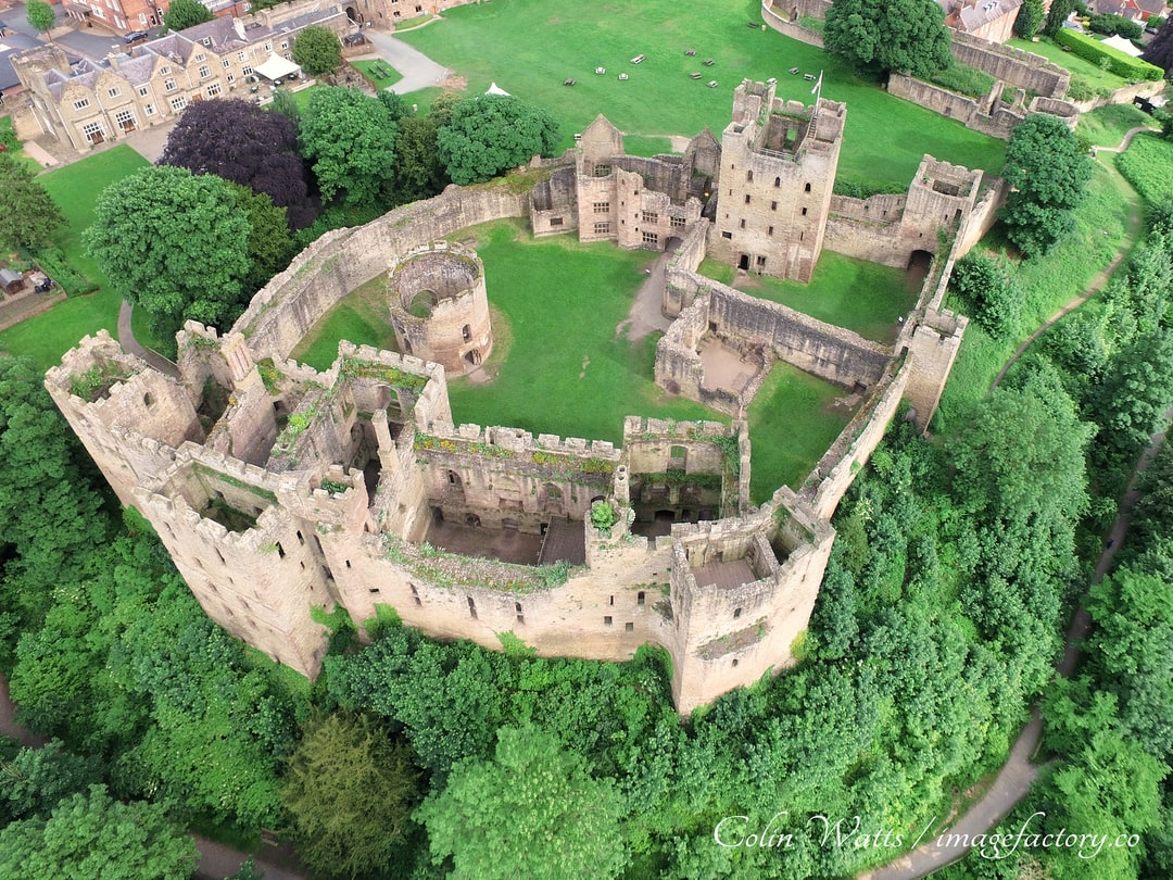 Ludlow Castle is a Norman Fortress that has been extended to be a Royal Palace giving it a significant place in English history.  The castle has been owned by the Earles of Powis since 1811 who have preserved the current building which is open to visitors.  Photo was taken, with permission, using a DJI Inspire drone on a perfect English summers day.  For more information visit https://www.ludlowcastle.com/the-castle/ where you will find a video taken at the same time or go to https://imagefactory.co for more ideas.