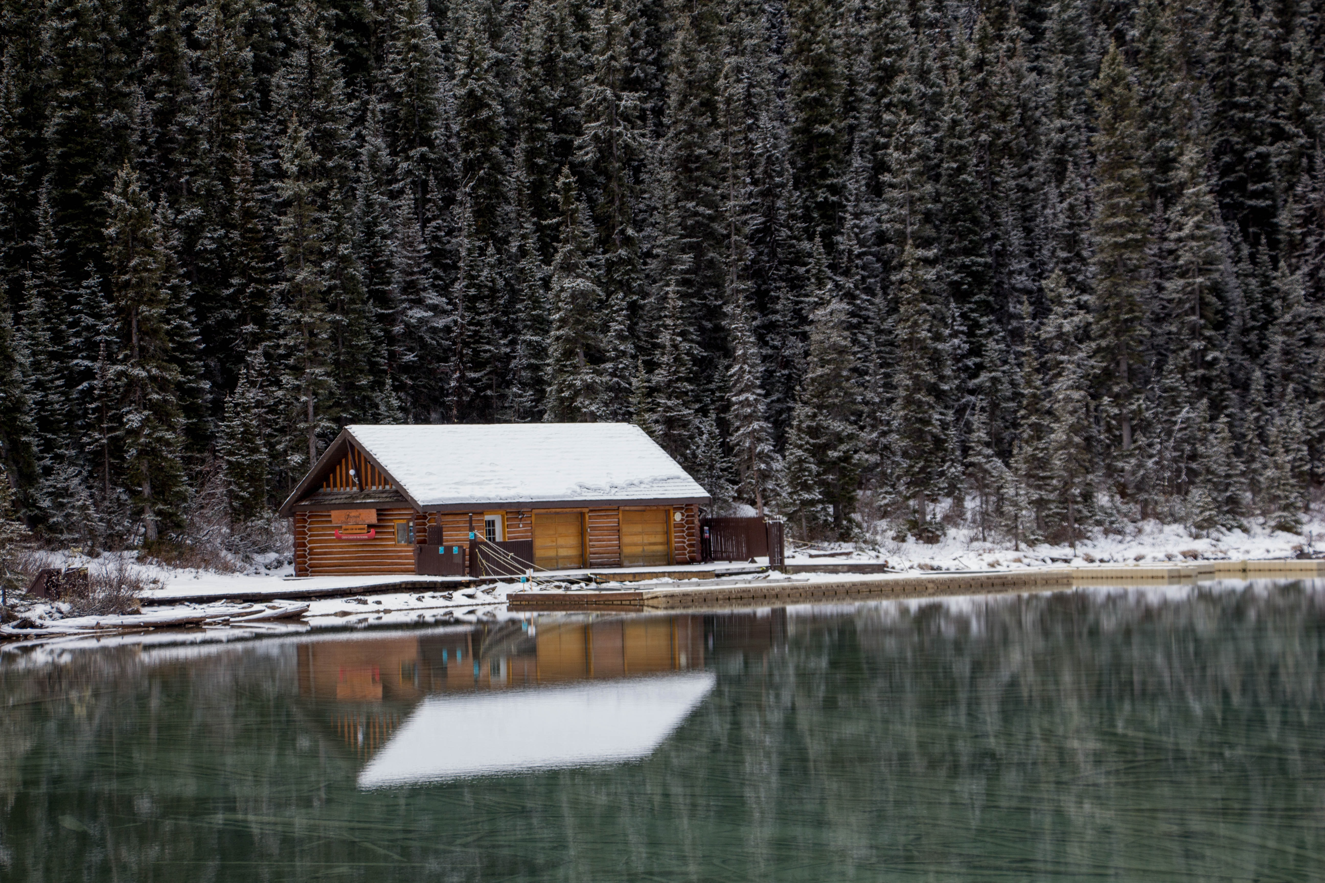 brown wooden house near trees and body of water