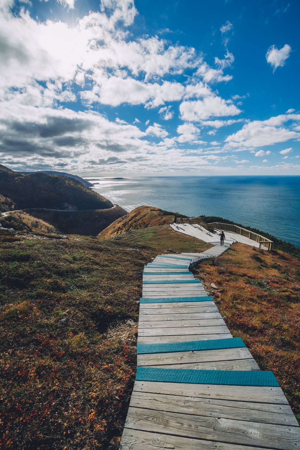 brow wooden stairs on cliff overlooking sea at daytme