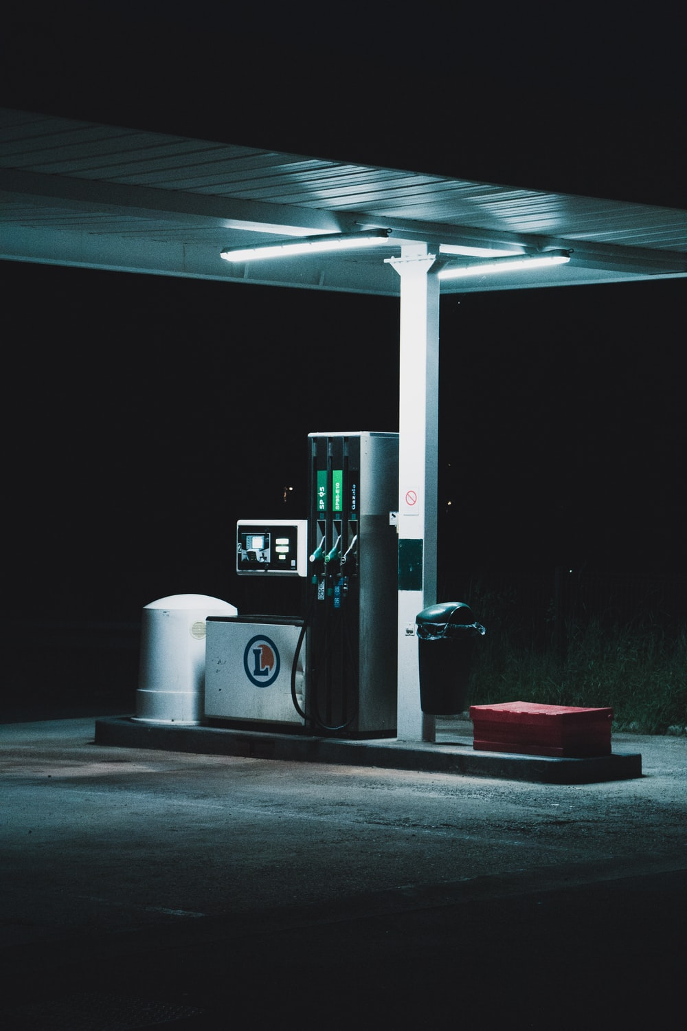 gray and black gas station
