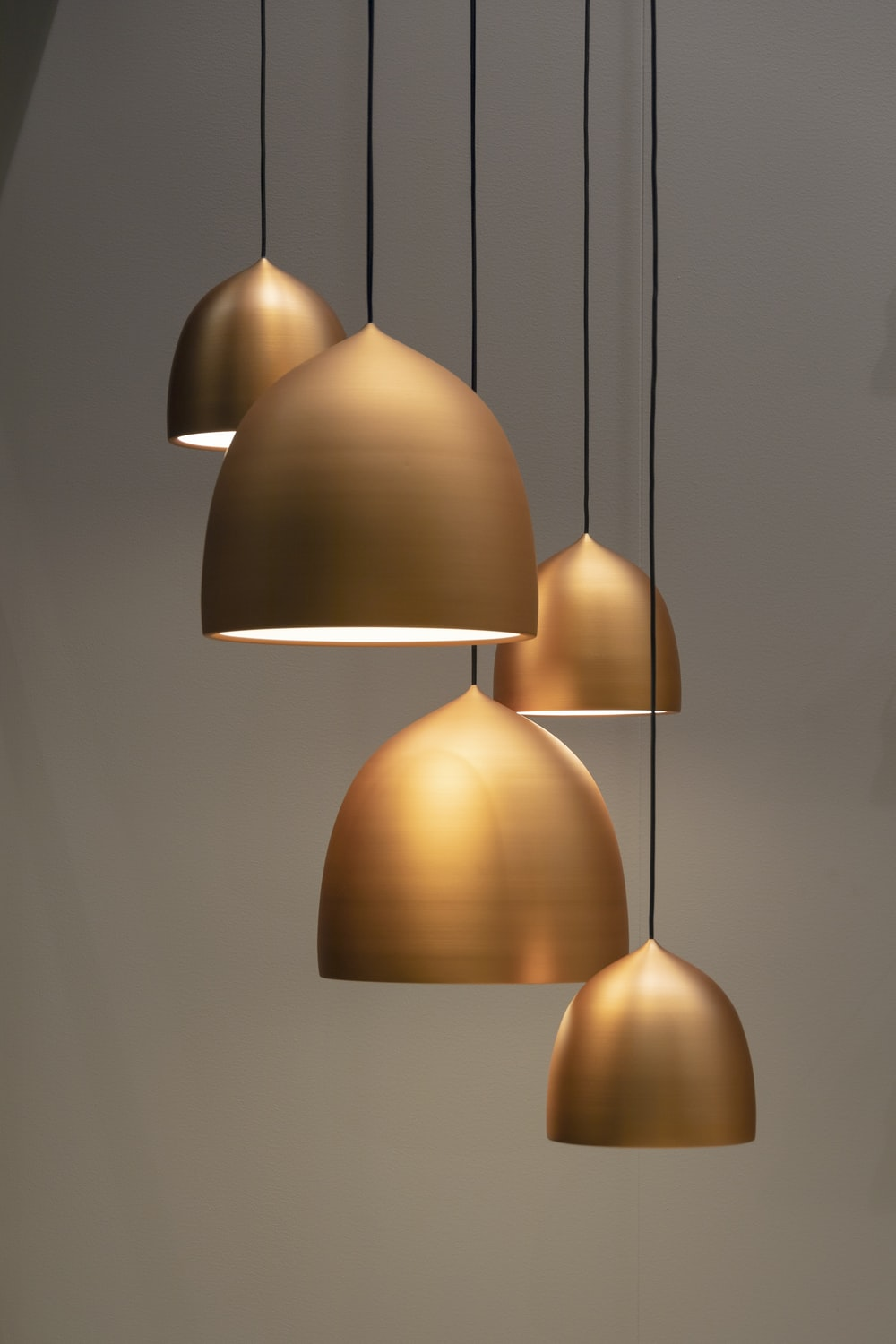 turned on pendant lamps