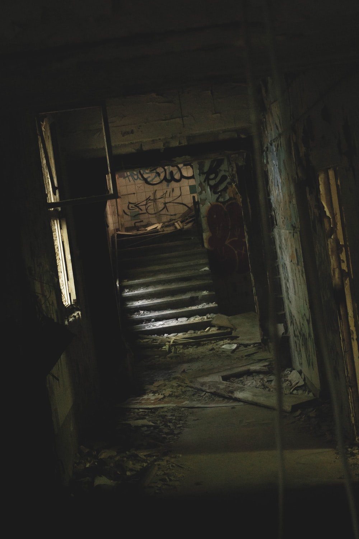 empty hallway towards stairs