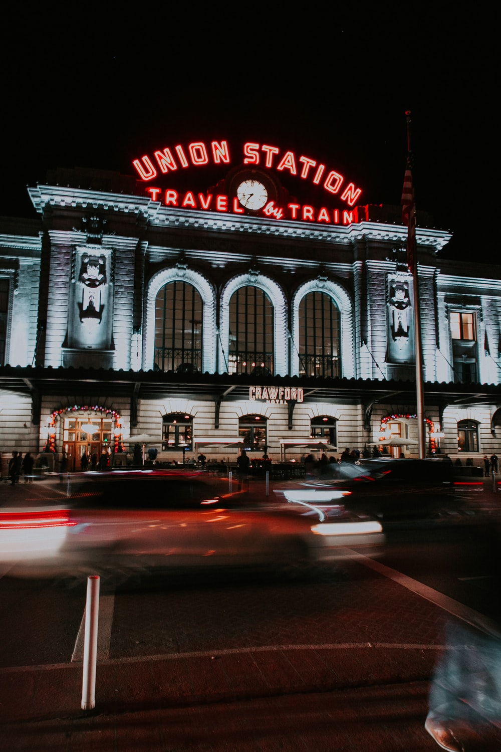 Union Station travel by train building photo at night