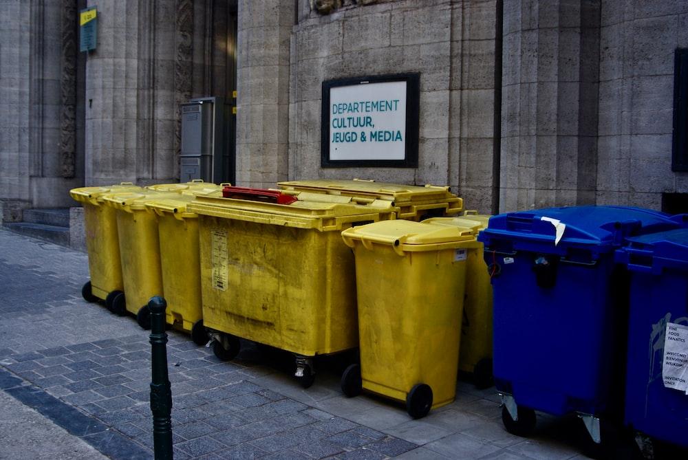 plastic trash bin lot