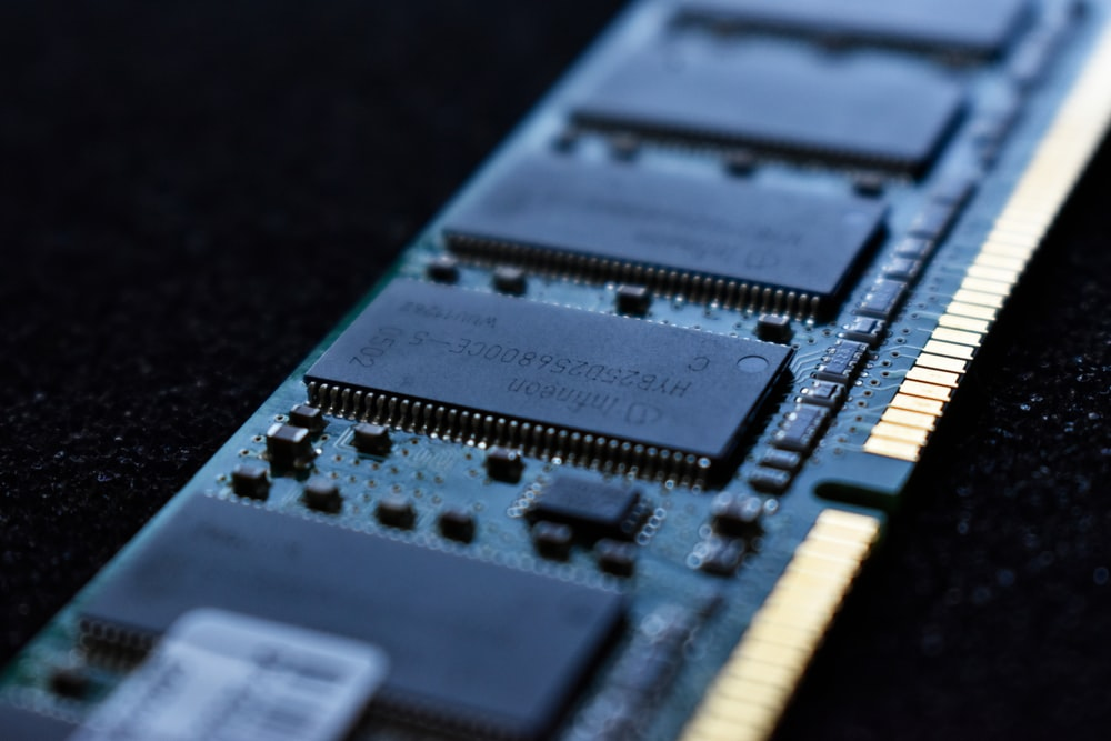 macro shot photo of a computer RAM