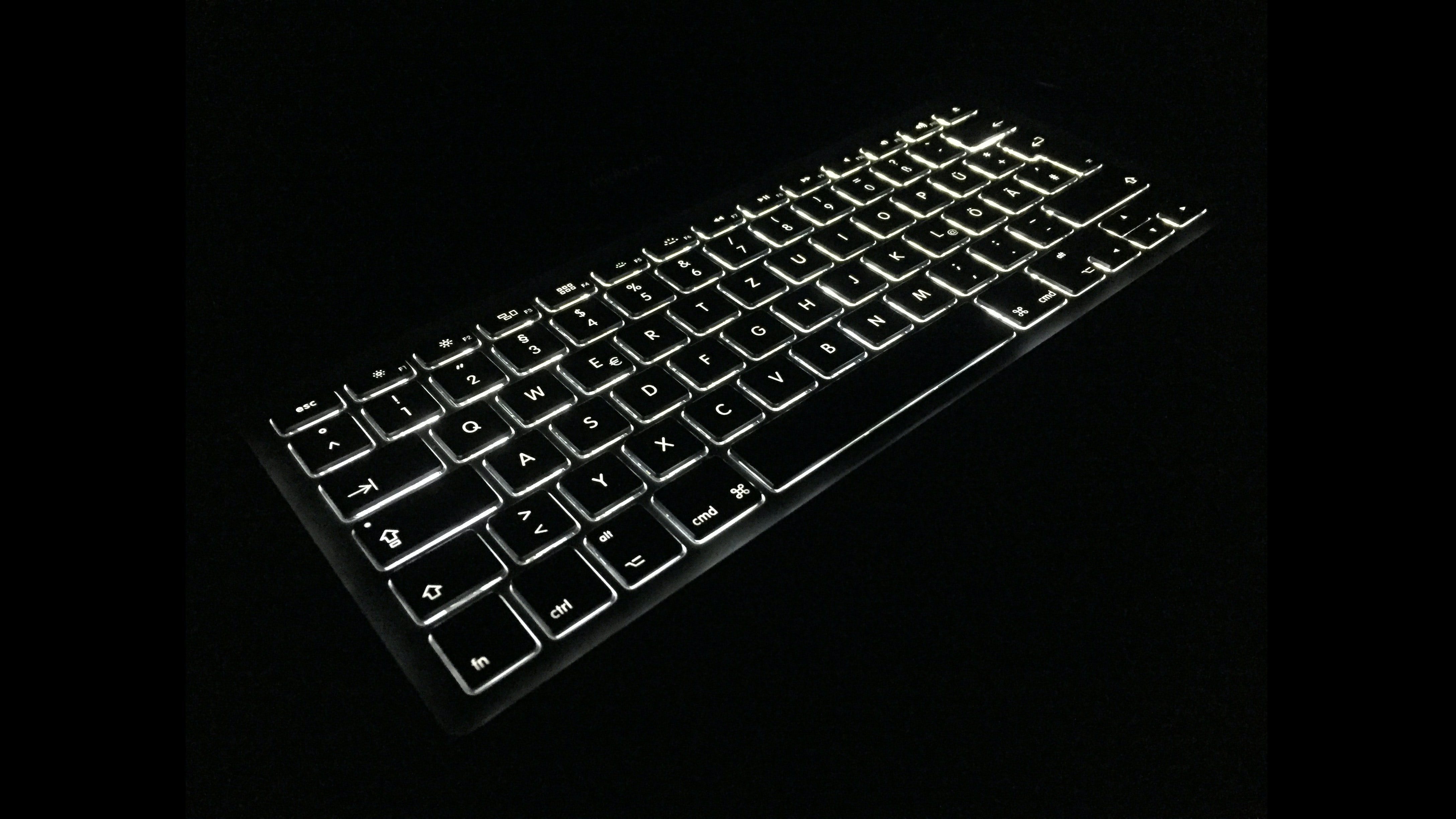 black and white lighted keyboard