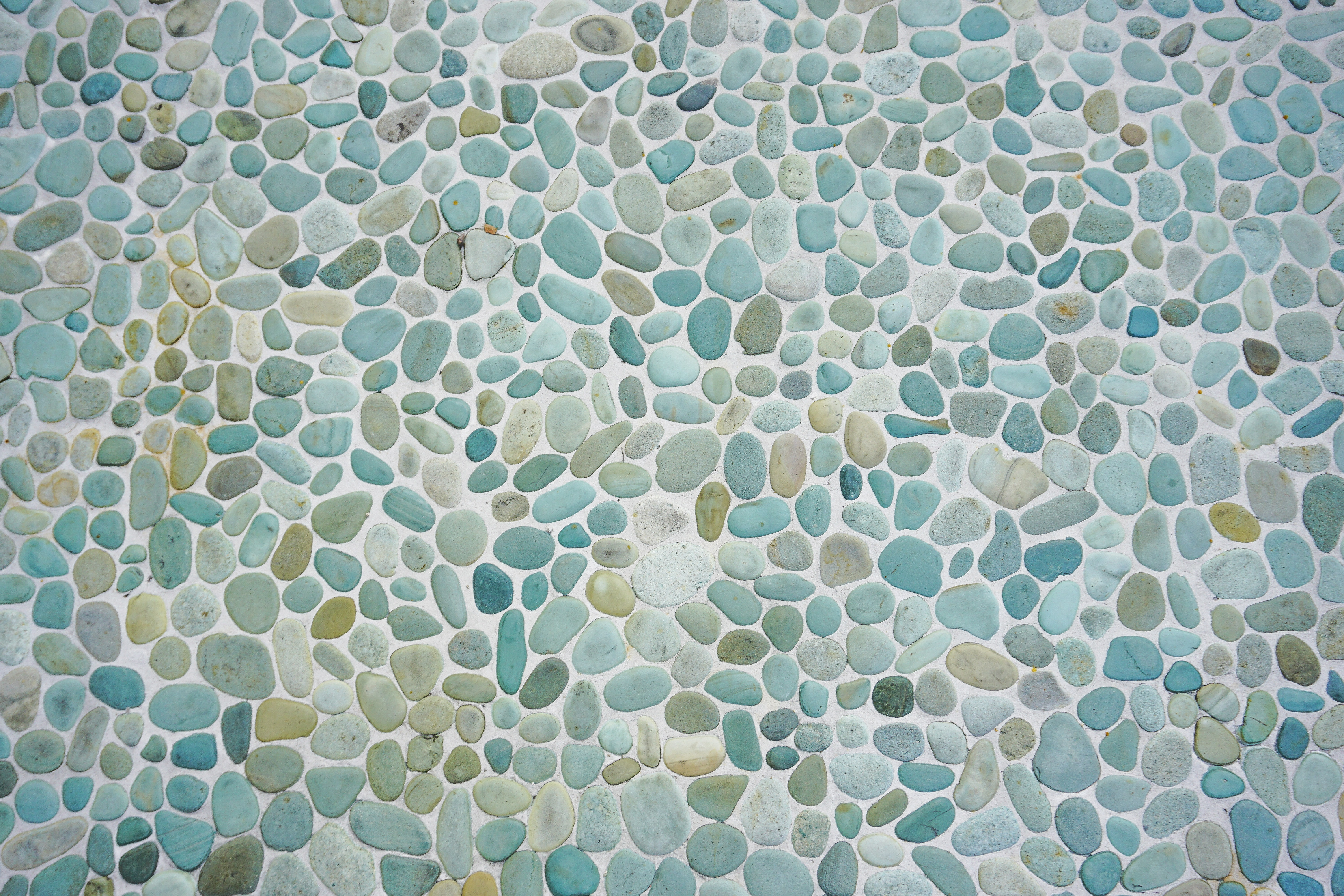 teal and green pebbles