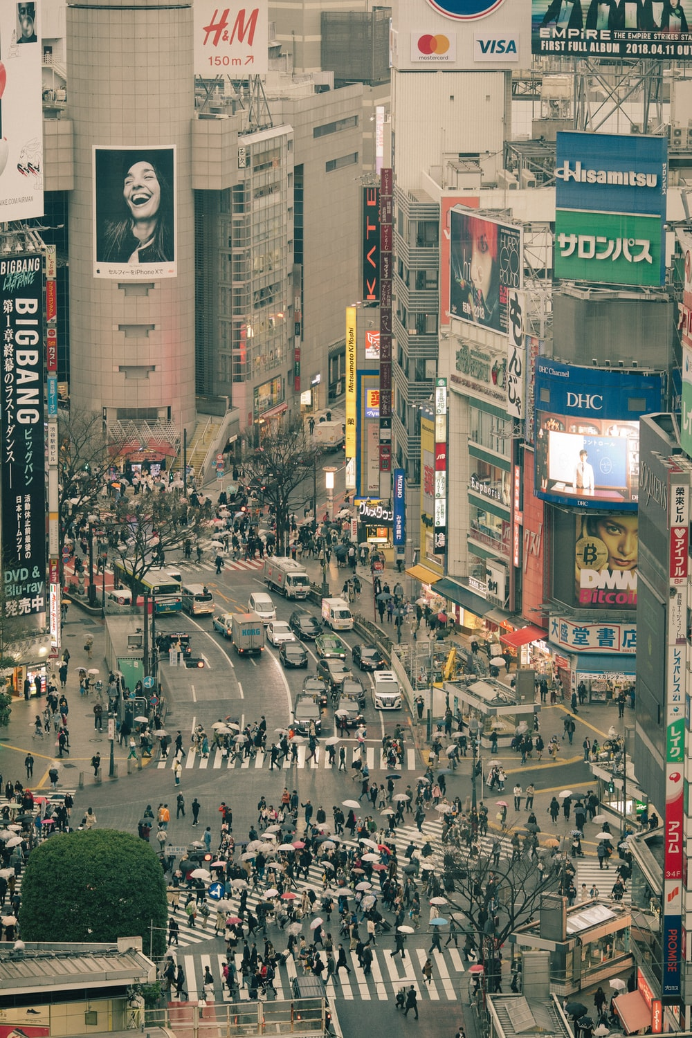 aerial photography of Shibuya crossing