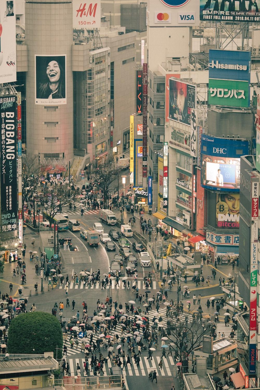 aerial photography of Shibuya crossing