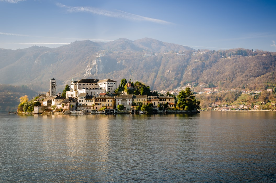 The castle view in Lake Orta
