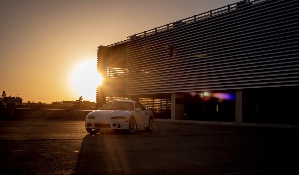 white car near garage