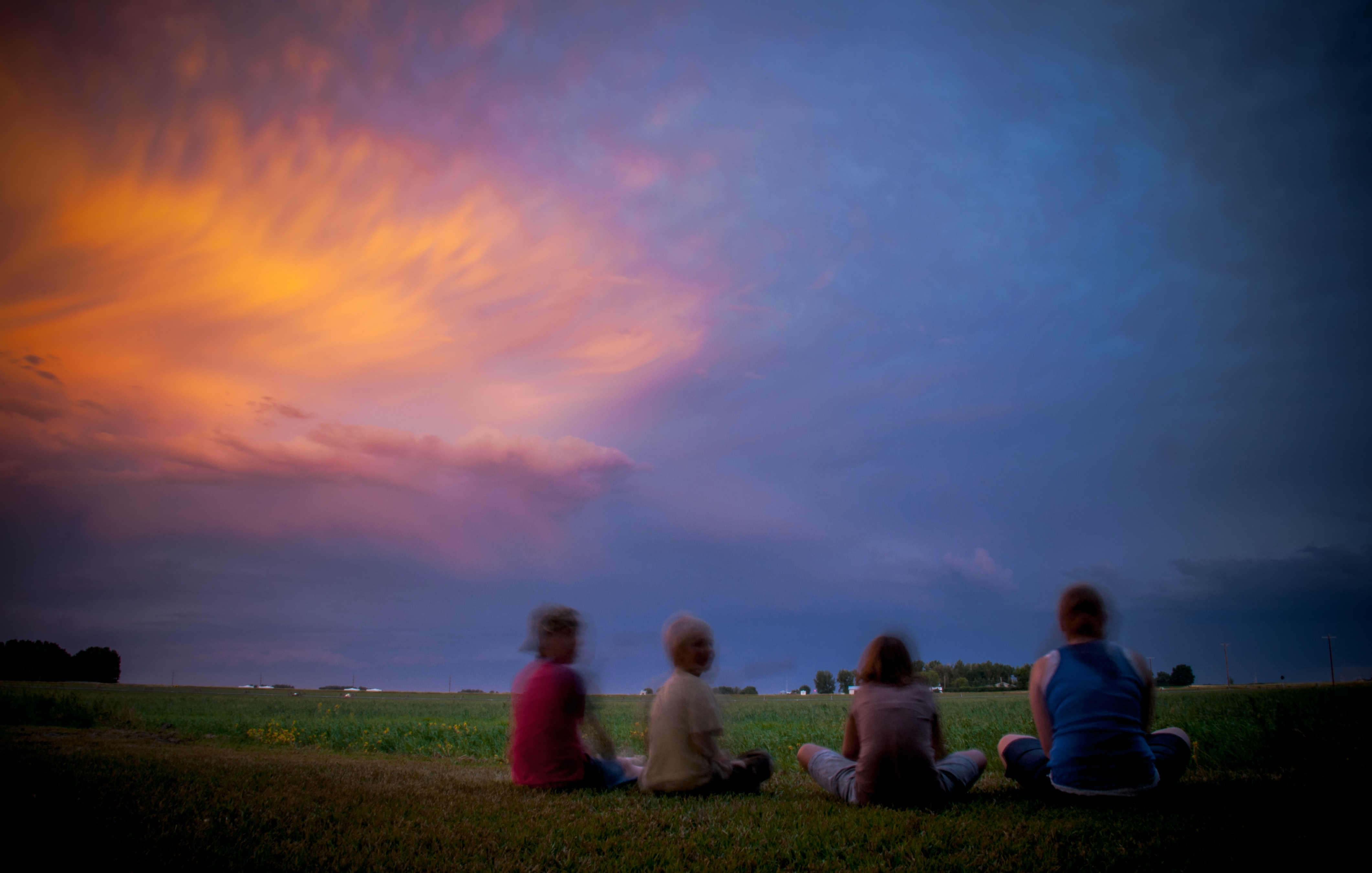four persons sitting on the grass