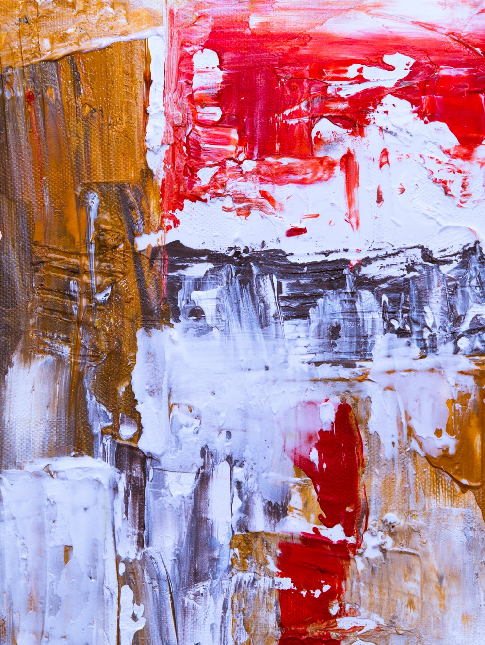 red, white, and brown abstract artwork
