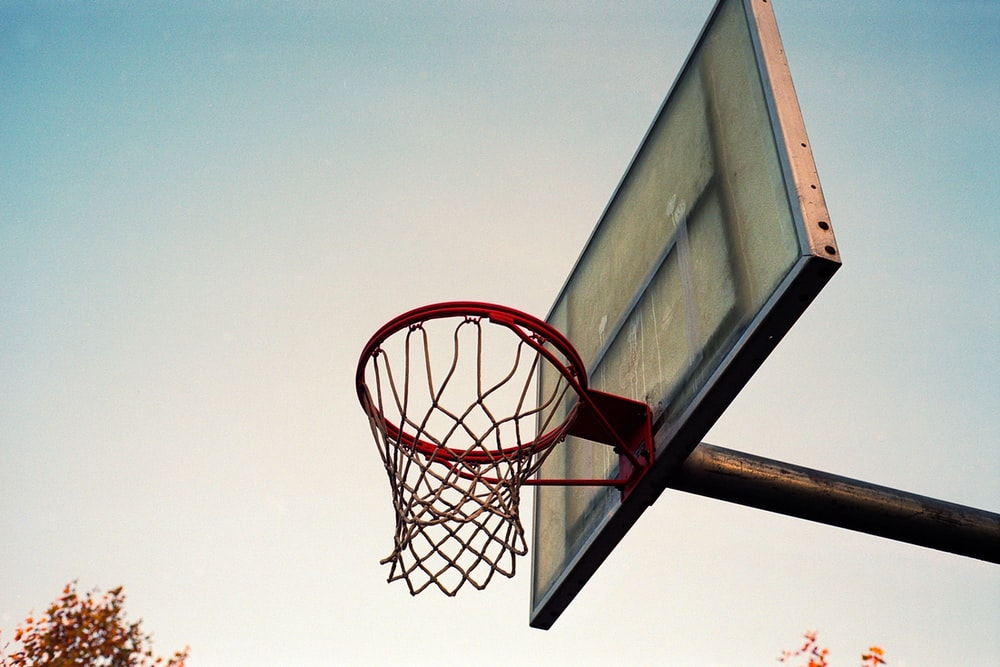 low angle photography of basketball system