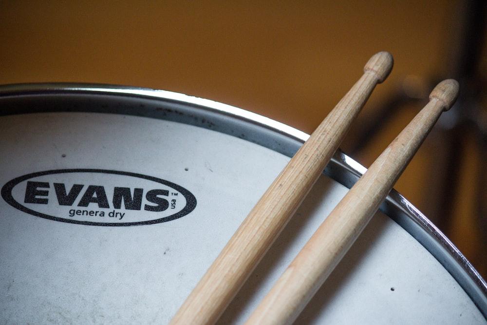 drumsticks on Evans drum