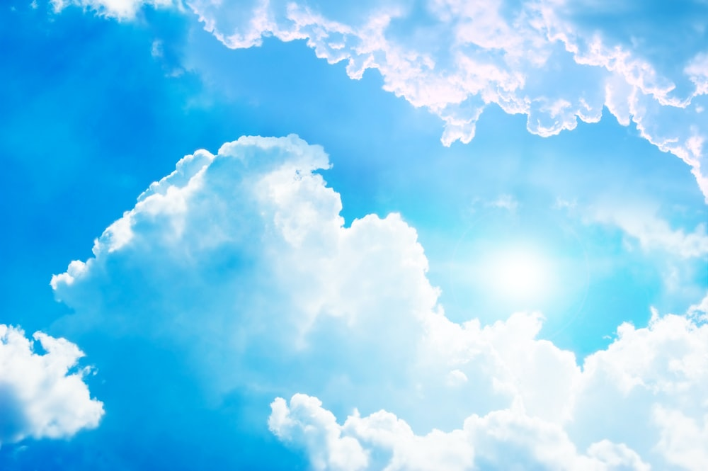 white and blue cloud formation