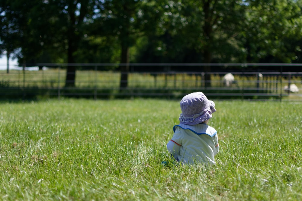 toddler standing on the green grass field