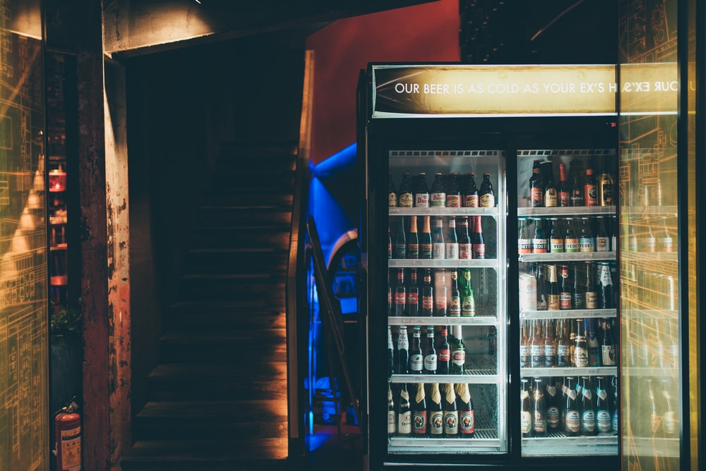 turned-on commercial refrigerator