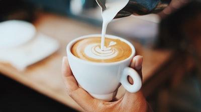 person making latte art latte zoom background
