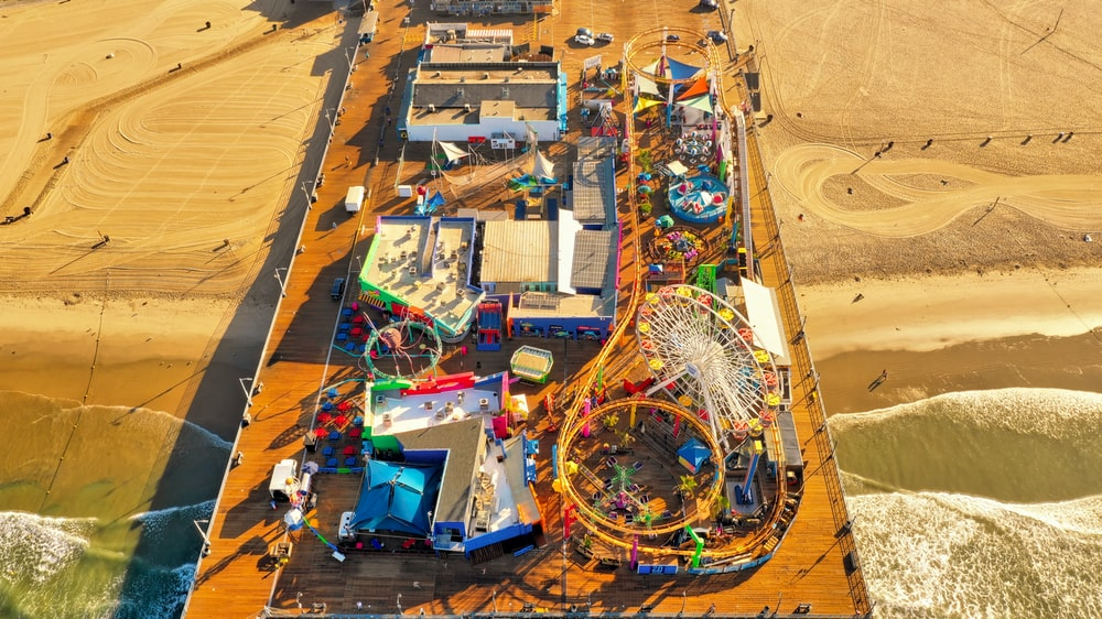 aerial photography of carnival on dock