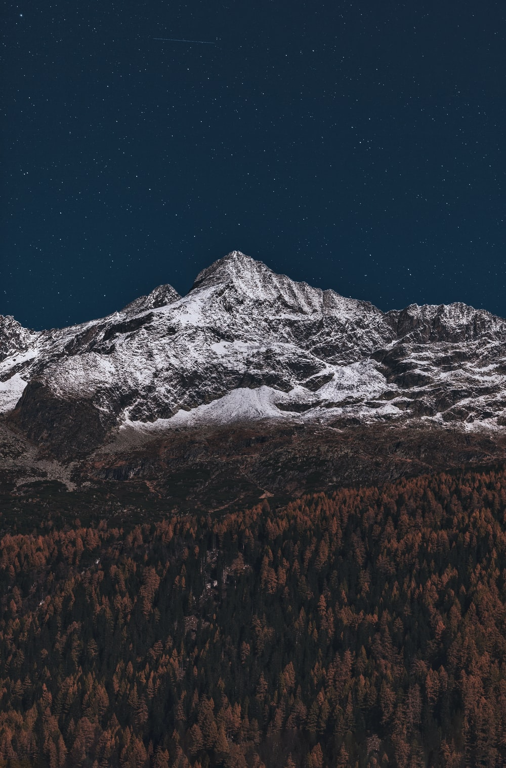 ice-capped mountain at night