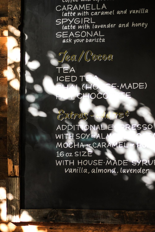 tea and cocoa menu board