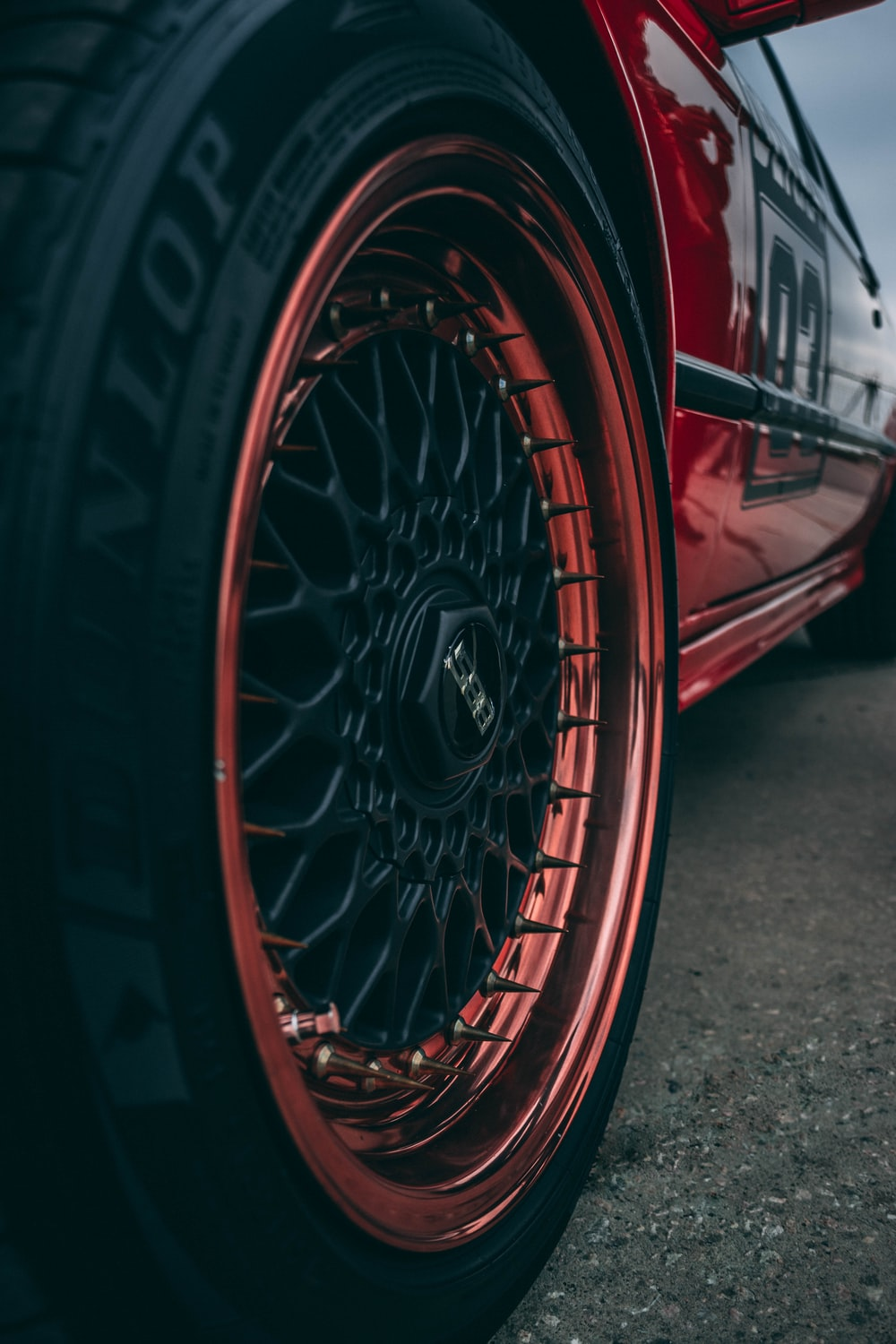 red wheel and tire
