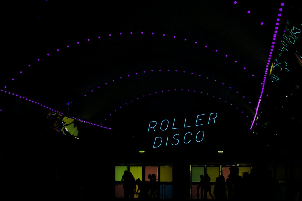 Roller Disco building at night