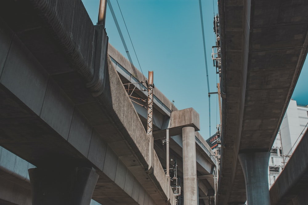 low-angle view of concrete bridge
