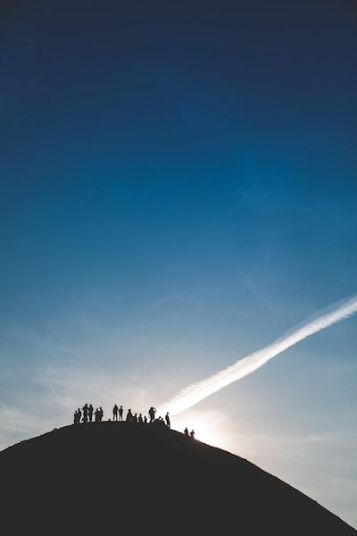 silhouette of trees on mountain