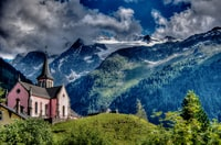Trient is a stop on the famous Tour Mont Blanc, famous for its cute pink church.