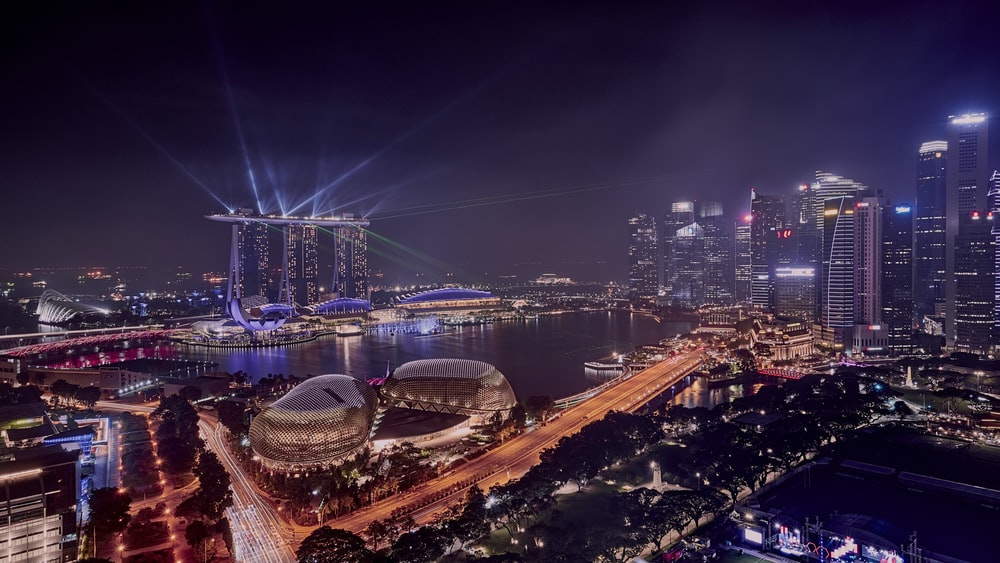 high-angle photography of lighted buildings
