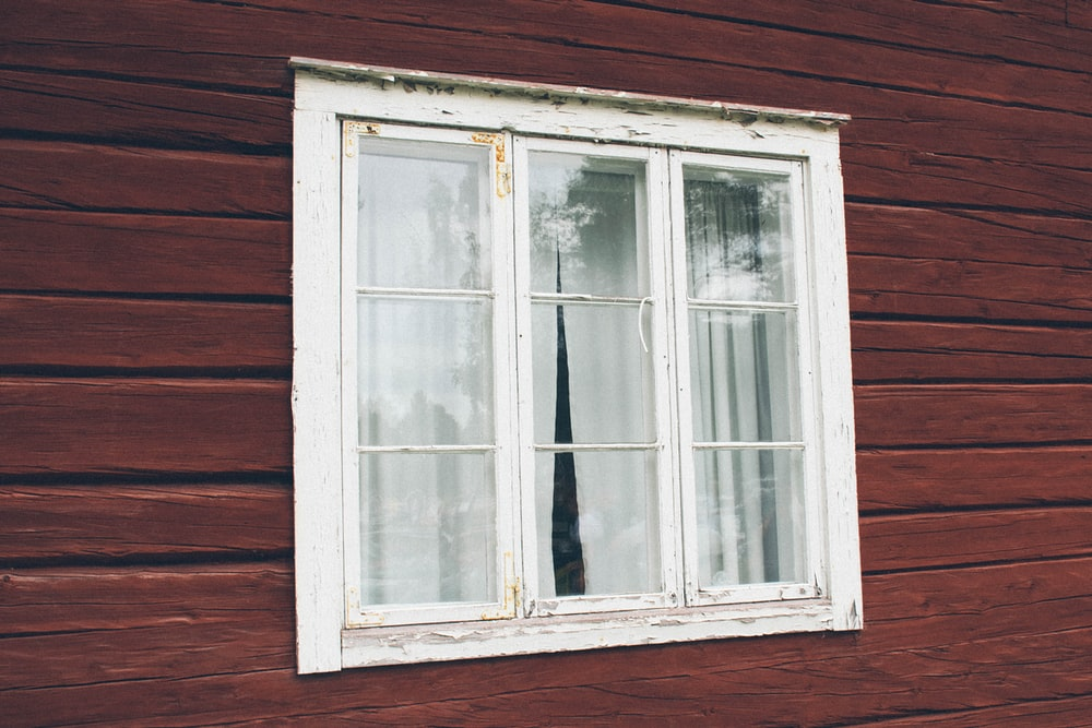 closed white wooden glass windows