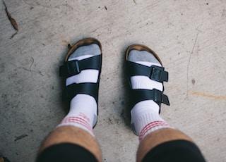 pair of black footbed sandals