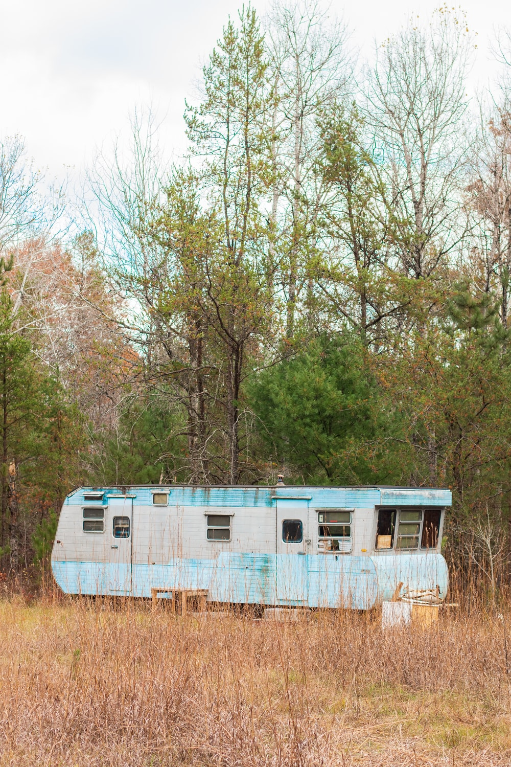 blue and white camper trailer beside trees during daytime