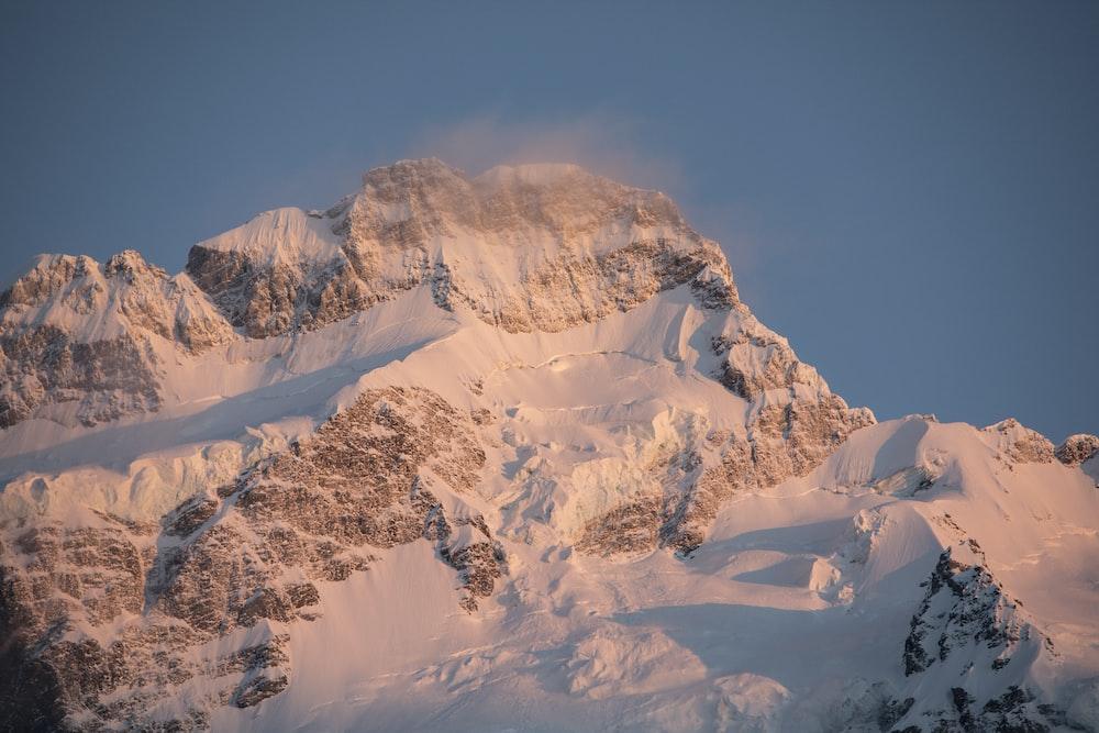 birds eye photography of snow-covered mountain