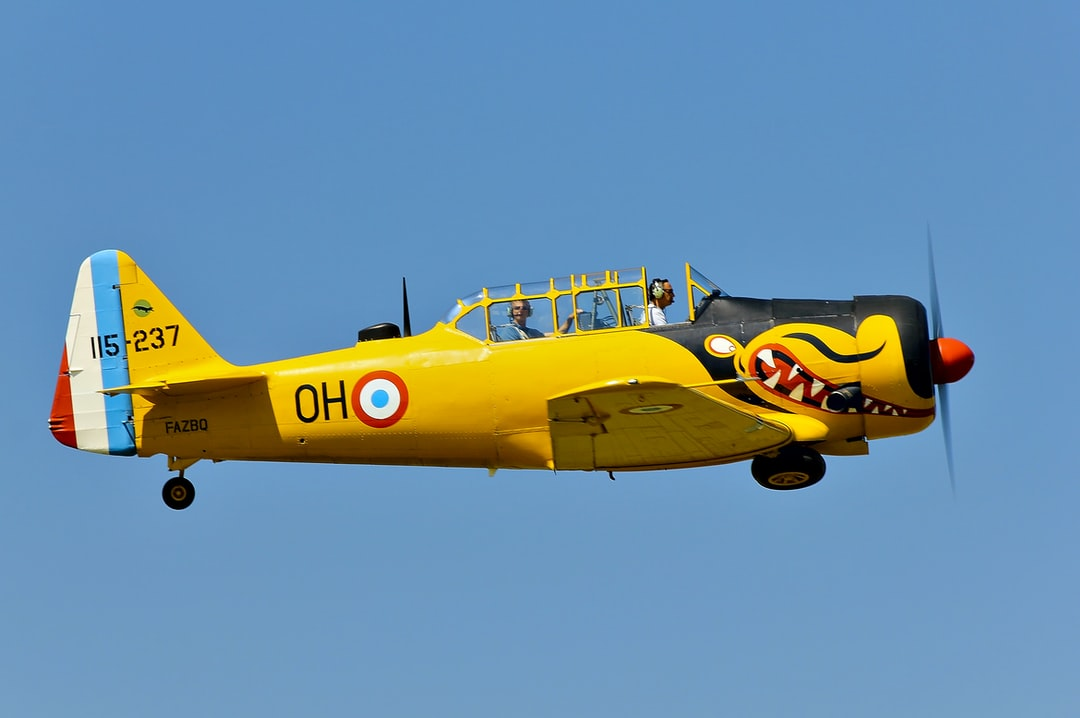 French T-6G warbird with shark mouth
