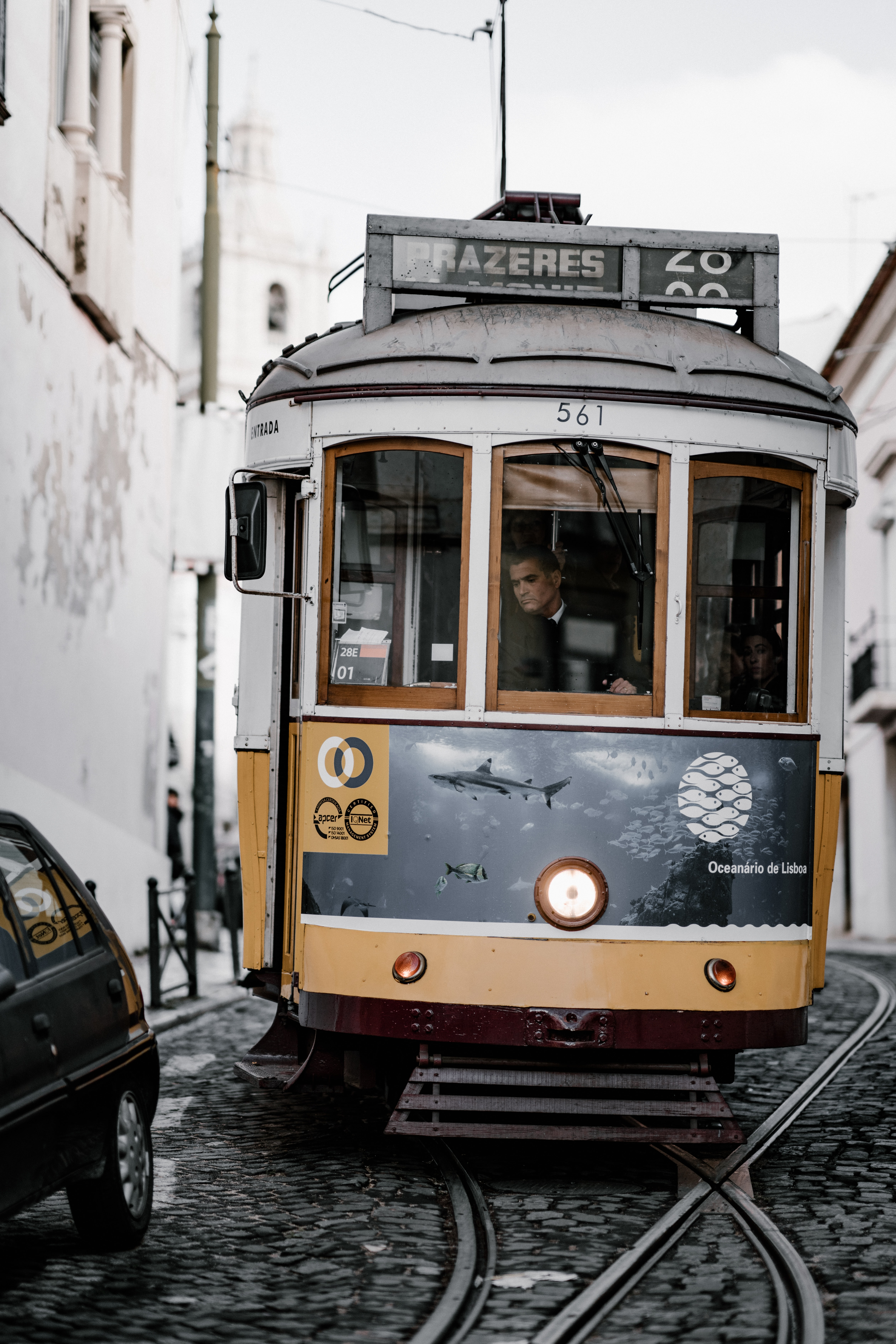 selective focus photography of man in tram