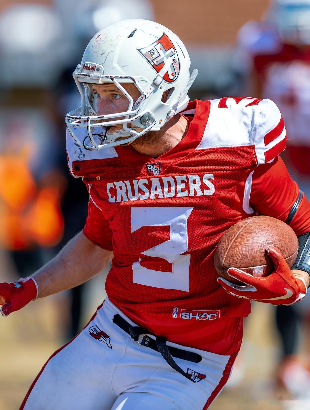 Gridiron Victoria: Western Crusaders offensive player Tyson Garnham looking for a way through the defense.