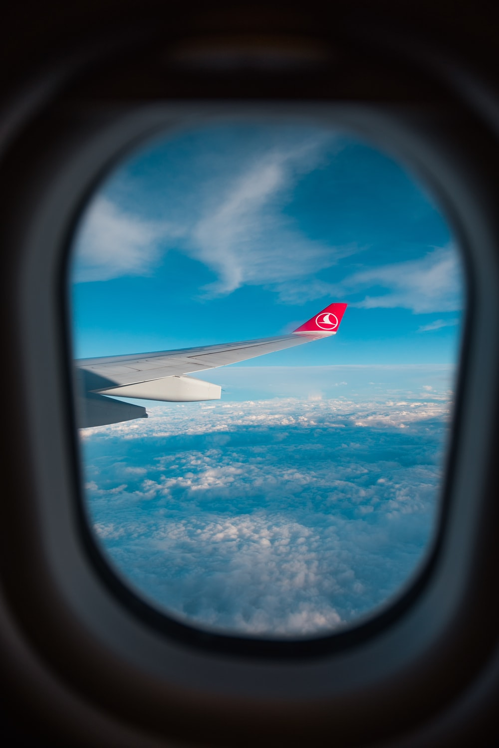 view of airplane's wing through window